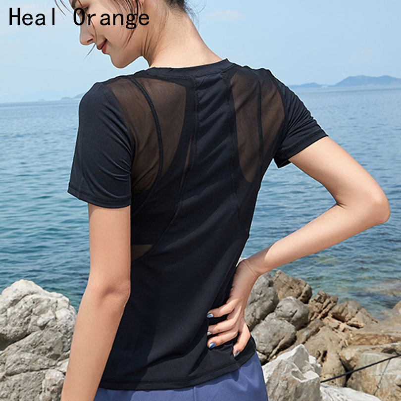 Quick Dry Mesh Splice Female Sport Top Jersey Woman T-shirt Crop Top Yoga Gym Fitness Sport  Running Training Clothes For Womem