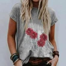 Moda kısa kollu tişört kadın seksi gevşek kısa kollu baskı yuvarlak boyun üst T-Shirt