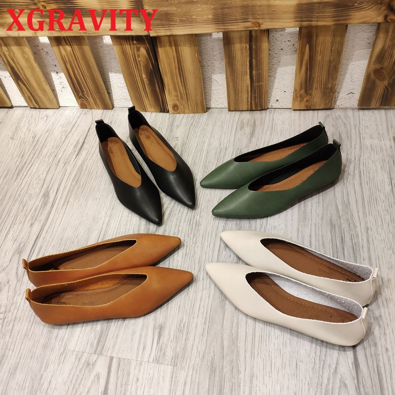 XGRAVITY 2021 New Spring Comfortable Lady Flat Shoes Pointed Toe Flats Plus Size Female Women Footwear Comfort Ladies Shoes C102