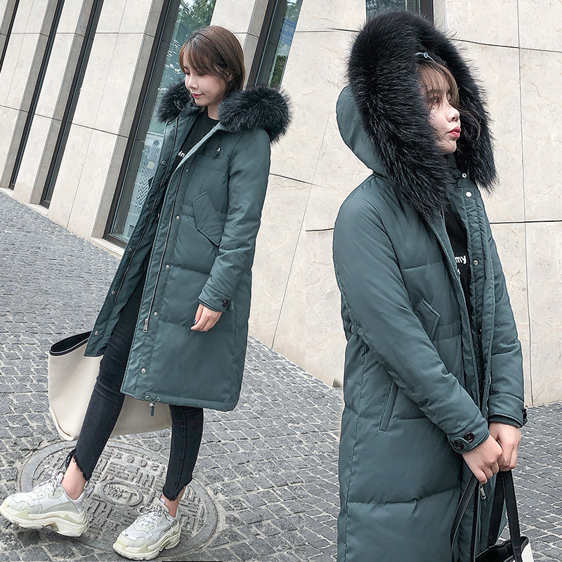 2020 New Winter Coat Duck Down Jacket Woman Hooded Raccoon Fur Collar Long Womens Jackets Puffer Chaqueta Mujer KJ2553