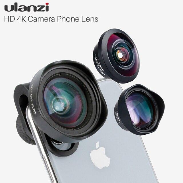 Ulanzi HD 4K caméra téléphone objectif 2X téléobjectif 100 grand Angle avec CPL 238 objectif Fisheye pour iphone 7/8 X HUAWEI P20 PRO xiaomi