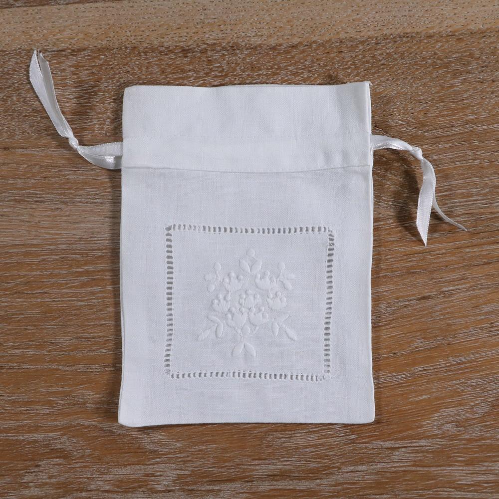 22\u201d square vintage  white cotton embroidered laundry bag drawstring antique boudoir country cottage chateau kit bag crochet lace