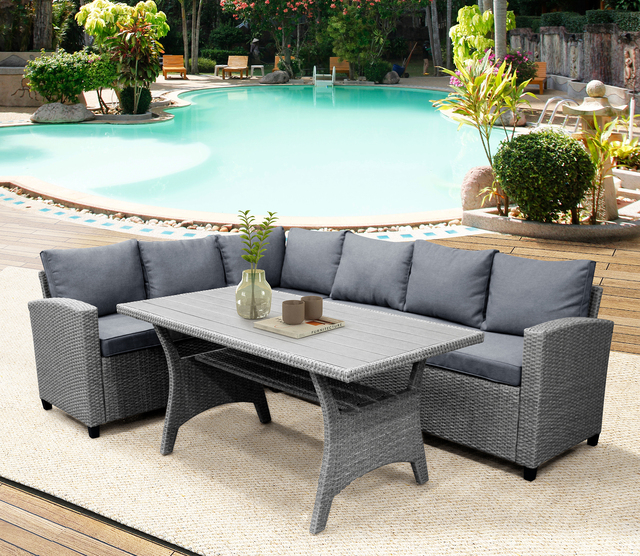 Rattan Patio Furniture Set Dining Table Sofa Wicker Home Furniture Outdoor Garden Poolside Decor Modern 2