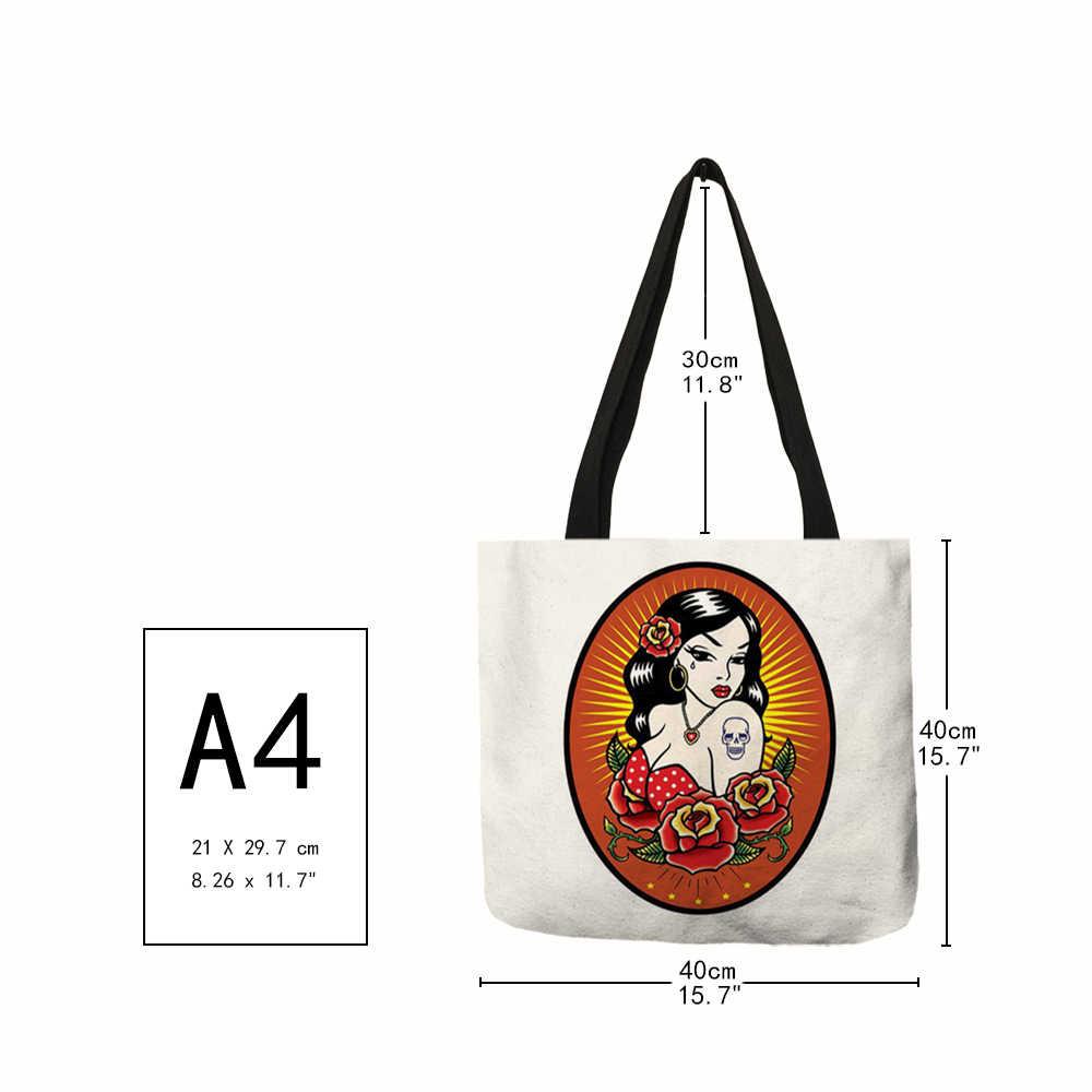 Сумка-тоут с принтом «День мертвых» для девушек, модные женские сумки, многоразовая сумка для шоппинга с двухсторонними персонажами