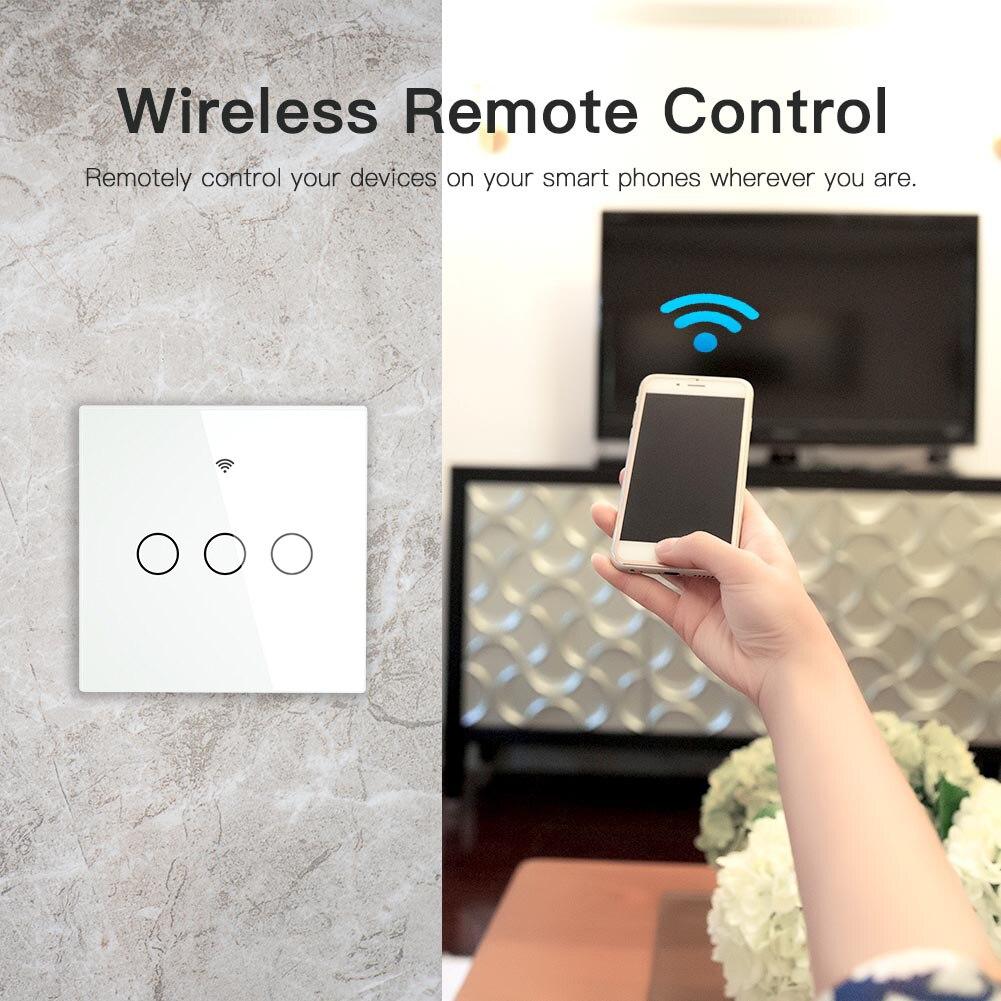 Image 4 - Smart switch no neutral Switch Interruptor WiFi RF433 Smart touch Switch Tuya Remote Control Single Fire Work with AlexaSwitches   -