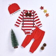 Одежда для новорожденных мальчиков и девочек г. Рождественские полосатые боди, штаны «Мой первый Рождественский головной убор», комплект одежды из 3 предметов, одежда для девочек