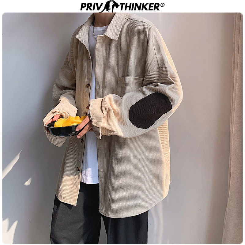 Privathinker Men Corduroy Patchwork Shirts 2019 Hip Hop Loose Long Sleeve Shirt Japan Streetwear Khaki Harajuku Shirt Oversized