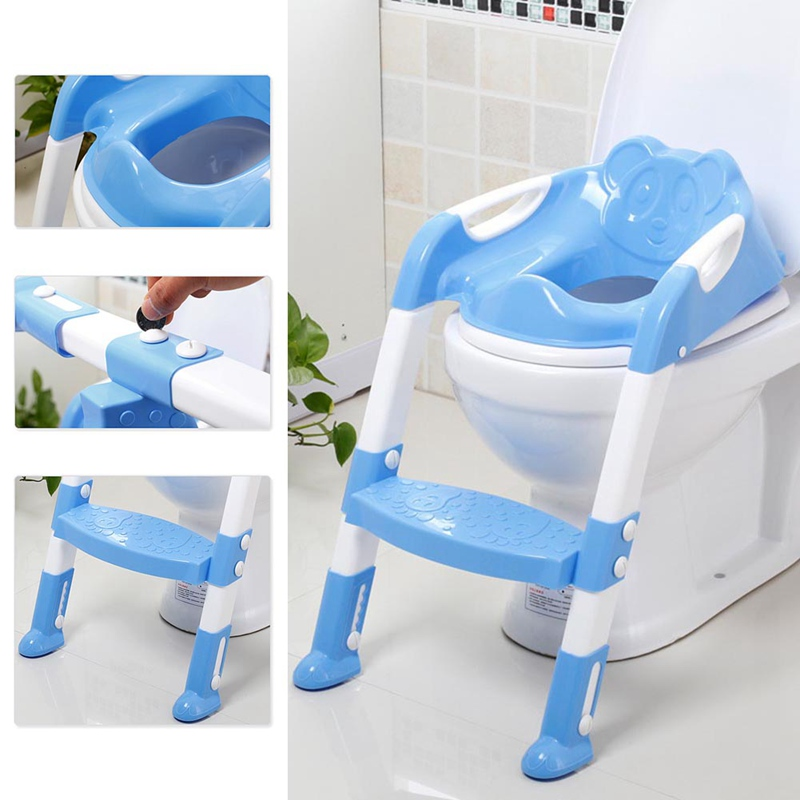 Baby Potty Training Seat Children's Potty Baby Toilet Chair With Adjustable Foldable Ladder Infant Toilet Trainer Folding Seat