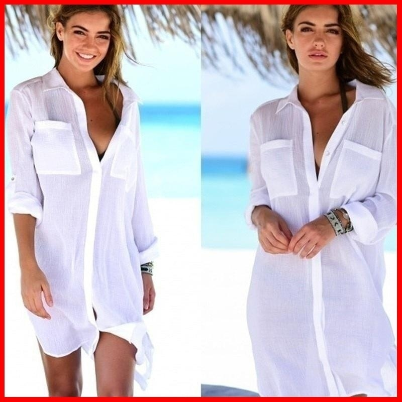 Zogaa Summer Women's Fashion Long Shirts Beach Style Sexy Blouses Female Casual Solid Beach Shirts Breathable Blouses Loose Tops