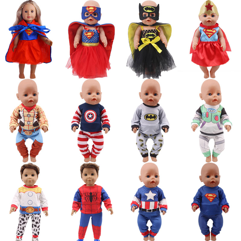 Cosplay/12 Styles Avengers / Superhero Series Pajamas Fit 18 Inch American&43 CM Born Baby Doll Clothes ,Girl's, Our Generation