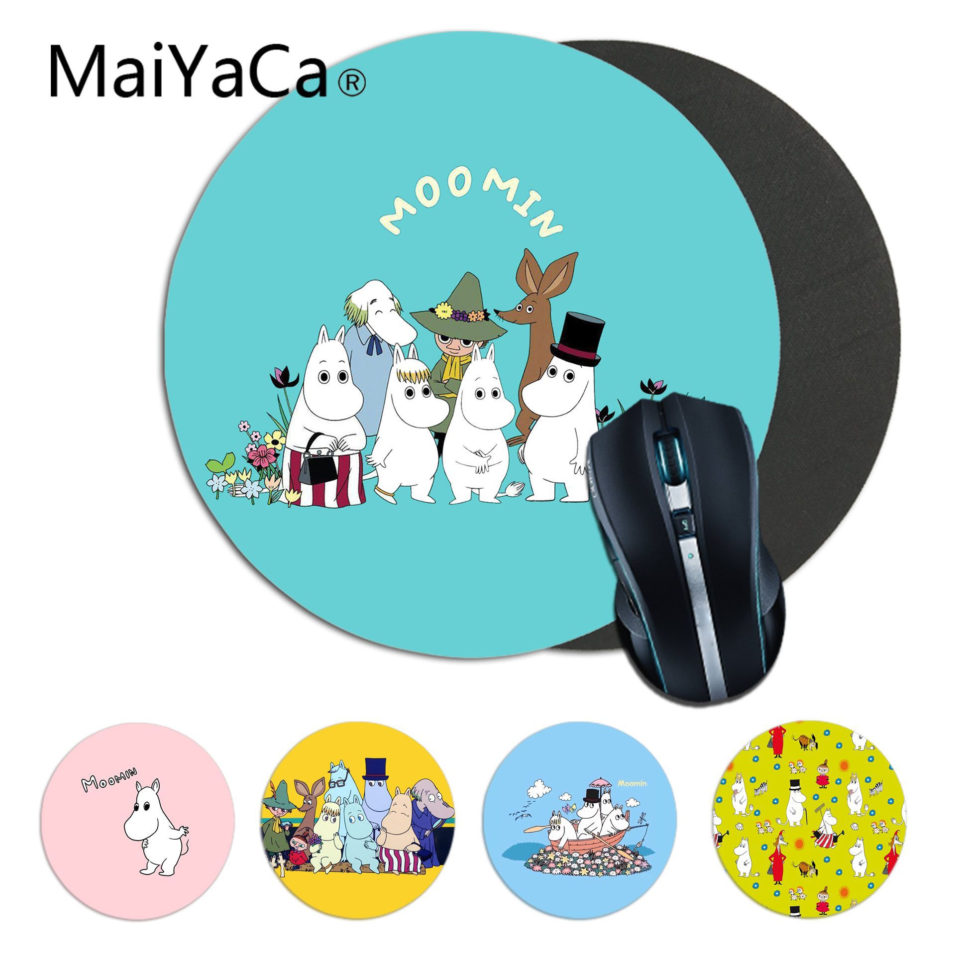 MaiYaCa Cute Hippo Moomin Pikku Rubber PC Computer Gaming Mousepad Anime Mouse Pad Rug For PC Laptop Notebook Gamer Desk Pad