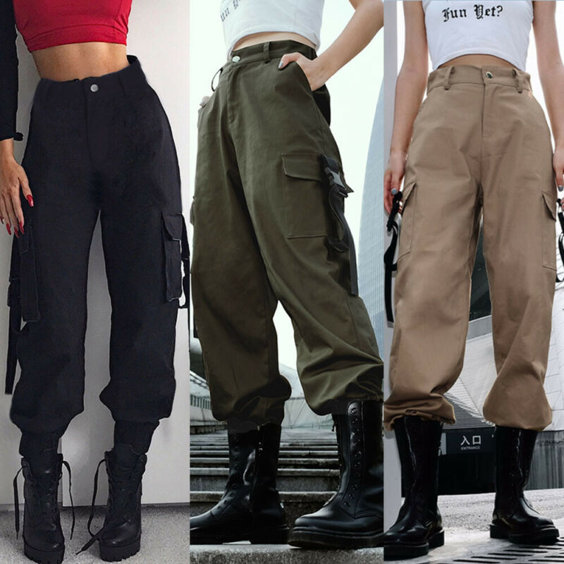 Women Casual Cargo Straight High Waist Army Loose Sports Long Pants Hip Hop Dance Military Combat Multi-Pocket Jeans Trousers