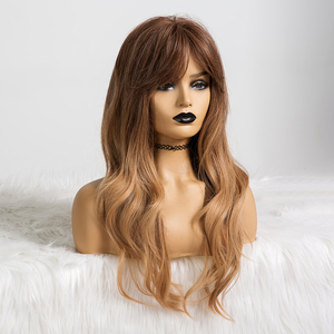 Image 5 - EASIHAIR Long Ombre Brown to Blonde Wigs with Bangs Synthetic Wigs For Women Natural Hair Wavy Cosplay Wigs Heat Resistant