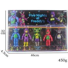 Five Nights At Freddy's Lighting-figuras de 5,5 pulgadas en caja, 5 unidades por lote, juguetes FNAF Chica Bonnie Foxy Freddy