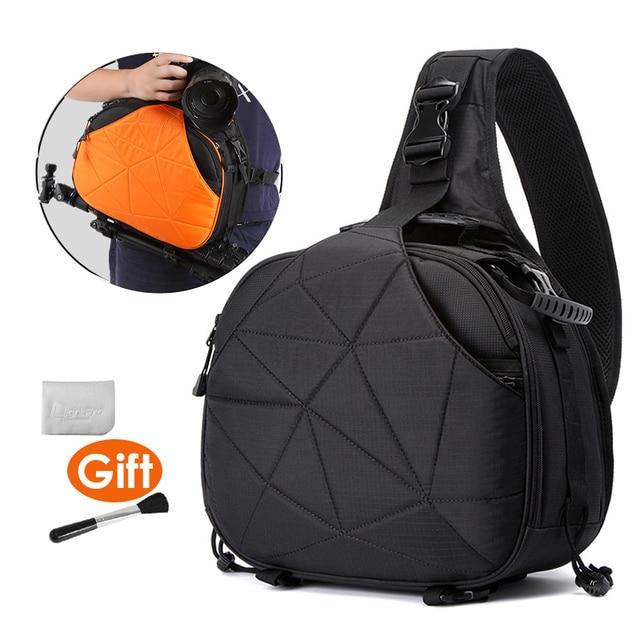 사진 방수 삼각형 슬링 크로스 바디 남성 여성 소프트 패딩 카메라 어깨 가방 여행 캐주얼 삼각대 가방 디지털