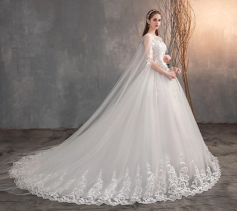 Long Cap Lace Wedding Gown Bridal Dress 3