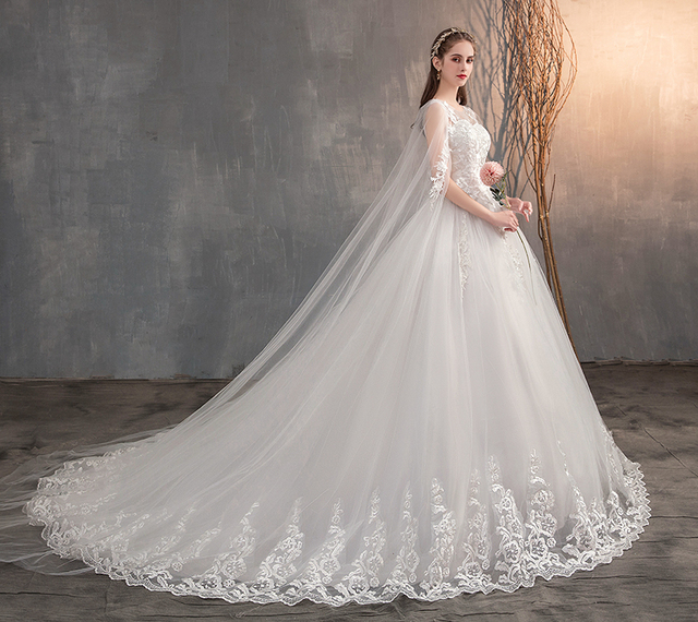 2021 Chinese Wedding Dress With Long Cap Lace Wedding Gown With Long Train Embroidery Princess Plus Szie Bridal Dress 3