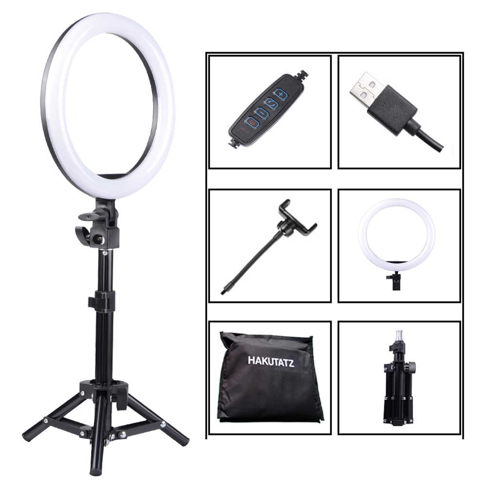 Dimmable 10 inches LED SMD 2700-5500K Ring Light Kit Studio Video Light LED Lighting With Extended Mini Ball Head, Phone Holder
