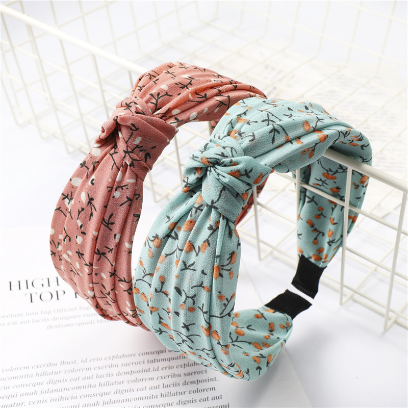 MISHE 017 Women Cotton Bohemia Beach Headband New Girls Floral Printed Knot Bow Hair Band Hair Accessories Lady Headpiece
