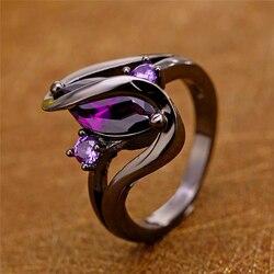 Nouveau Unique noir anneaux mode violet CZ cristal anneaux pour les femmes de luxe ovale Zircon anneaux de mariage fiançailles bijoux 2020 chaud