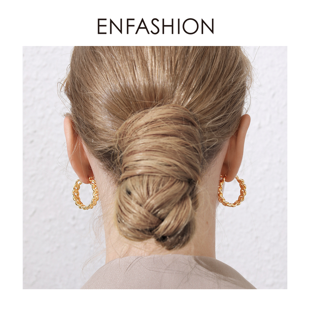 Image 2 - ENFASHION Punk Small Link Chain Hoop Earrings For Women Gold Color Round Hoops Earings Fashion Jewelry Pendientes Mujer E191088Hoop Earrings   -