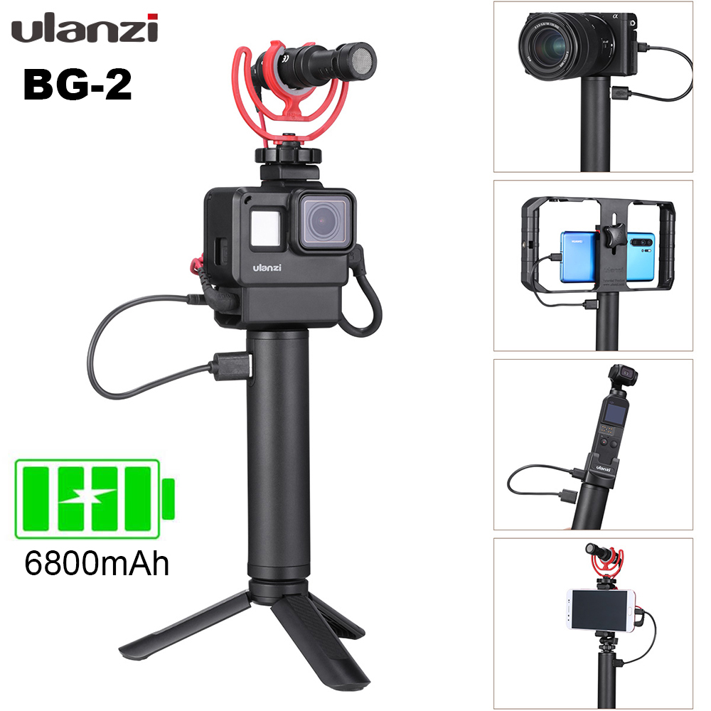 ULANZI BG-2 Power Hand Grip Aluminum 6800mAh Battery Handle for GoPro Smartphone Osmo Pocket with 1/4 Screw Hole