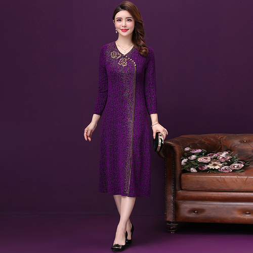High Quality Autumn New Fashion Style V-neck Plus Size Designs Purple Female Elegant Temperament Improvement Banquet Lady Dress