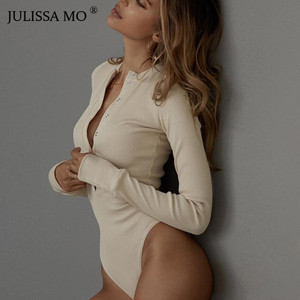 JULISSA MO Sexy V Neck Knitted Bodysuit Women Black Long Sleeve Buttons Rompers Womens Jumpsuit 2018 Casual One-pieces Bodysuits