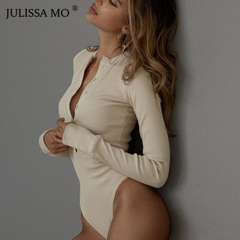 JULISSA MO Sexy V Neck Knitted Bodysuit Women Black Long Sleeve Buttons Rompers Womens Jumpsuit 2018 Casual One-pieces Bodysuits 2