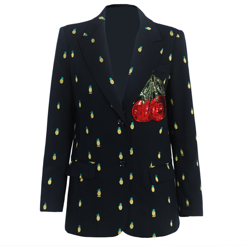 Cherry Sequin Embroideren Small Suit Women Notched Small Fragrance Pineapple Printed Blazer