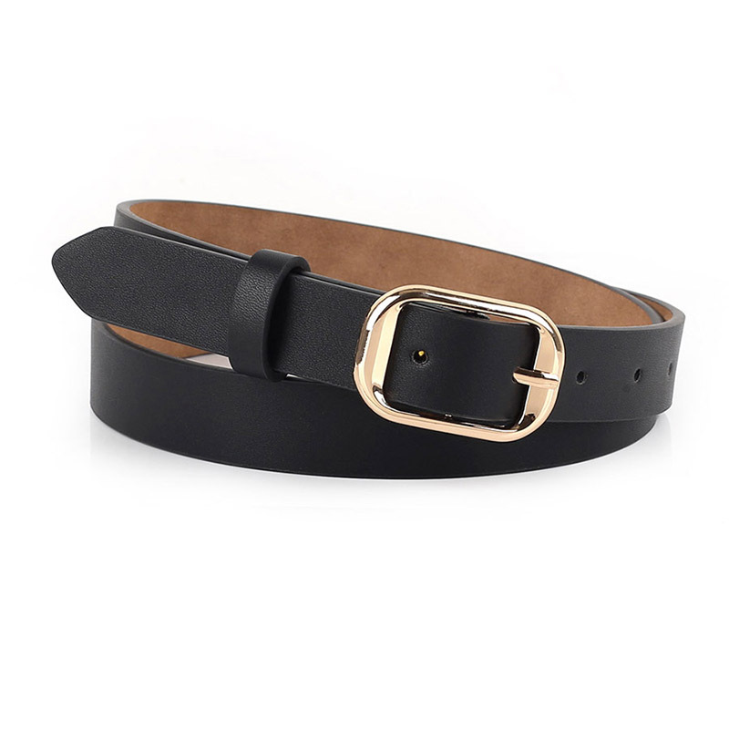 Wholesale Leather Belt Women's Polyurethane Belt Pin Buckle Fine Belt Women's Fashion Korean-style Casual Versatile Jeans Belt A