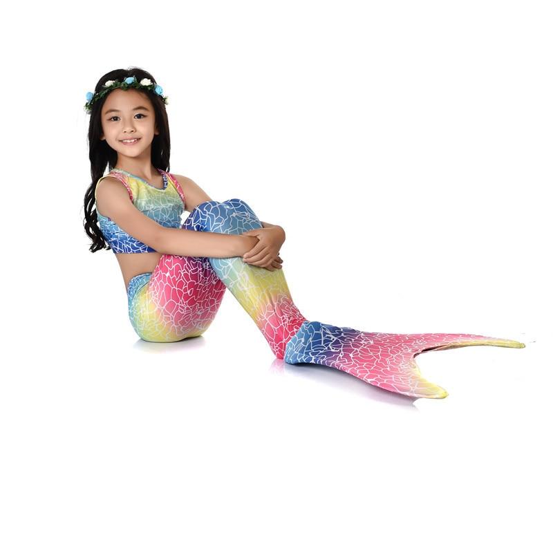 Mermaid Swimsuit Children Mermaid Tail Bathing Suit Three-piece Set Girls Mermaid Swimwear Europe And America Hot Selling Foreig