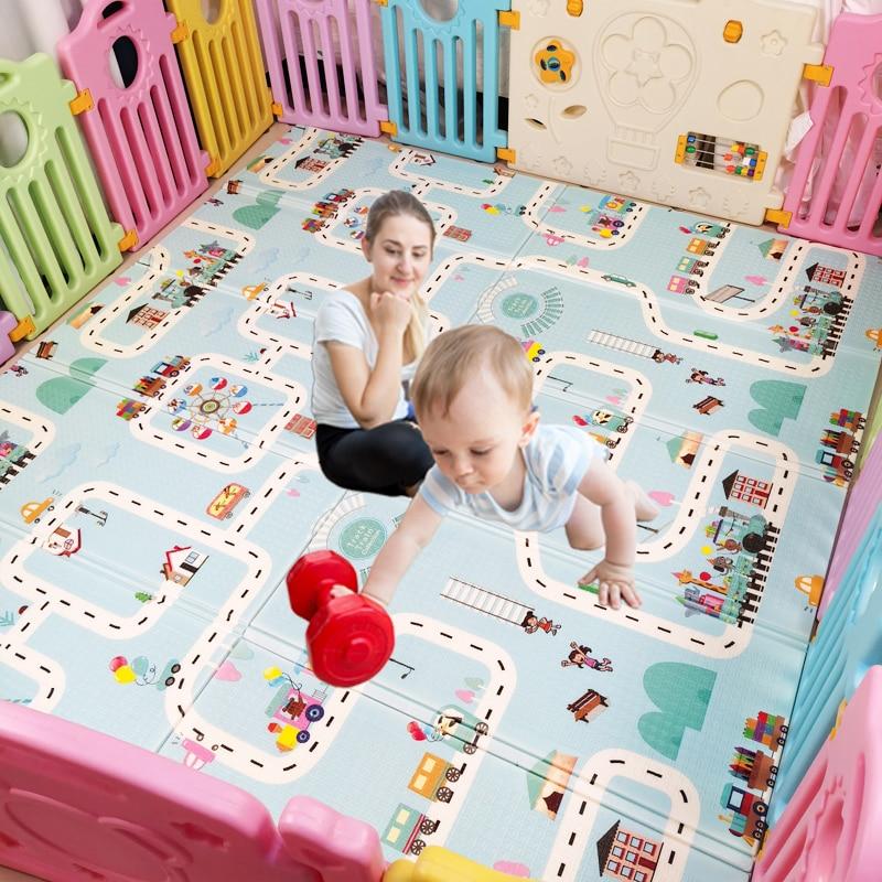Faltbare Baby Spielen Matte Spiel Aktivität Teppich Extra Dicke Ungiftig Schaum Boden Matte Wasserdicht Extra Große Reversible Krabbeln matte