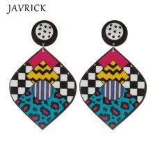 Punk Women Big Acrylic Colorful Abstract Graffiti Drop Earrings Fashion Jewelry