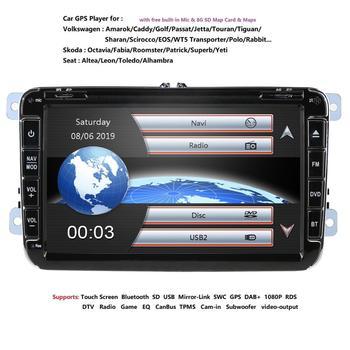8'' 2 din Car DVD Radio Player GPS Navigation for VW Golf/6/Golf/5/Passat/b7/cc/b6/SEAT/Skoda Bluetooth FM Stereo Player SWC USB
