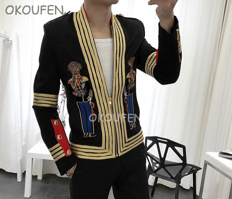 Catwalk Stage Performance Casual Suit Jacket Tide Fashion Star Korean Embroidery Palace Short Coat