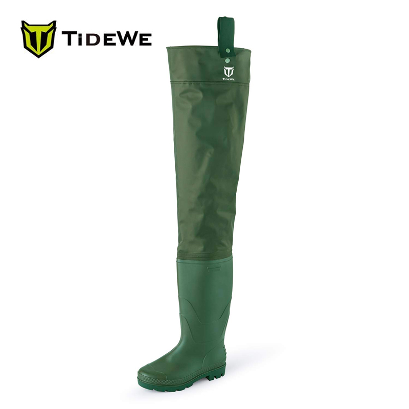 TideWe Green Lightweight PVC Hip Waders Fly Fishing Waders Hip Boots Hunting Boots for Men and Women