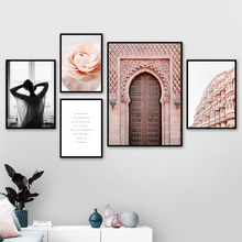 Flower Pink Building Door Lazy Girl Wall Art Canvas Painting Nordic Posters And Prints Landscape Pictures For Living Room