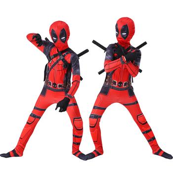 Dzieci przebranie na karnawał chłopcy cosplay superpool Deadpool kostiumy maska kombinezon body kostium na Halloween dla chłopca tanie i dobre opinie KOOY Spodnie Kombinezony i pajacyki Film i TELEWIZJA Unisex Zestawy Other Poliester kids size 90-150 Polyester Spandex Deadpool costume bodysuit