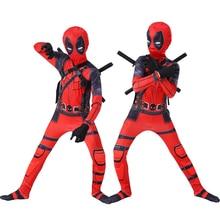 Kids cosplay Costume Boys cosplay Superhero Deadpool Costumes mask suit Jumpsuit Bodysuit Halloween party Costume For boy girls