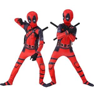 Image 1 - Kids cosplay Costume Boys cosplay Superhero Deadpool Costumes mask suit Jumpsuit Bodysuit Halloween party Costume For boy girls