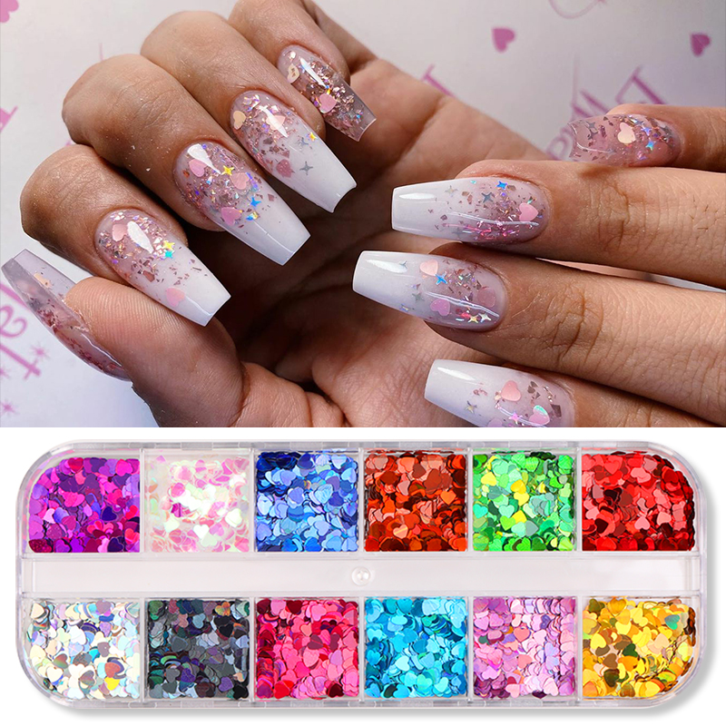 12 Grids/box Holographics Colorful Nail Sequins Design Sticker Glitter Nail Art Flakes Nail Art Decoration