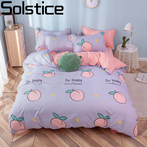Solstice Home Textile Girl Kids Bedding Set Honey Peach Pink Duvet Cover Sheet Pillowcase Woman Adult Bed Linens King Queen Full(China)