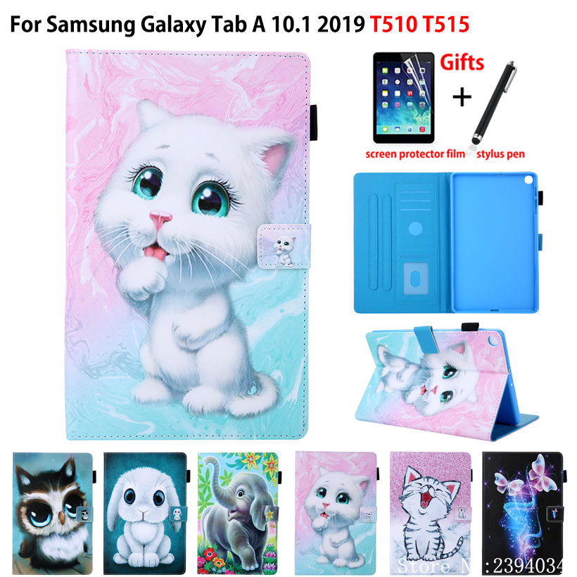SM-T510 SM-T515 Case For Samsung Galaxy Tab A 10.1 2019 T510 T515 Cover Funda Tablet Cute Cat Print Flip Stand Shell Capa +Gift