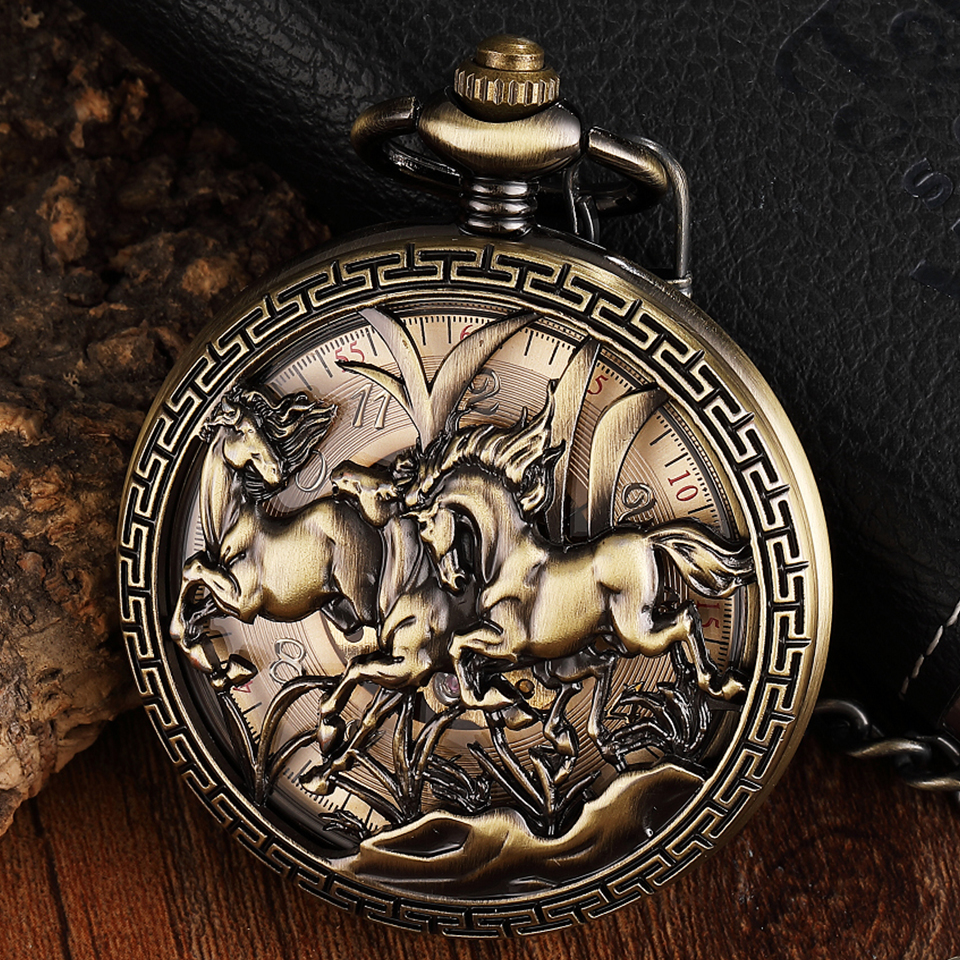 Vintage Hollow Horse Carved Mechanical Pocket Watch Animal Engraved Hand Winding Fob Watch Chain Necklace Pendant For Men Women
