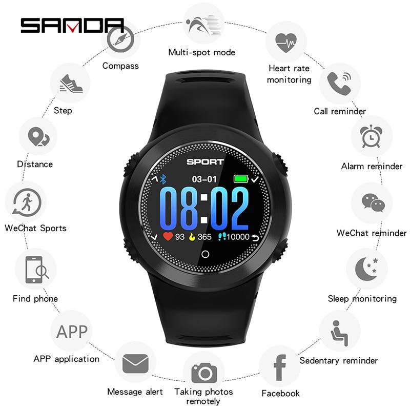 SANDA HZ181 Healthy Sports Bracelet Compass Bluetooth IP68 Waterproof Watch Multifunction Smart Reminder Clock Relogio Masculino