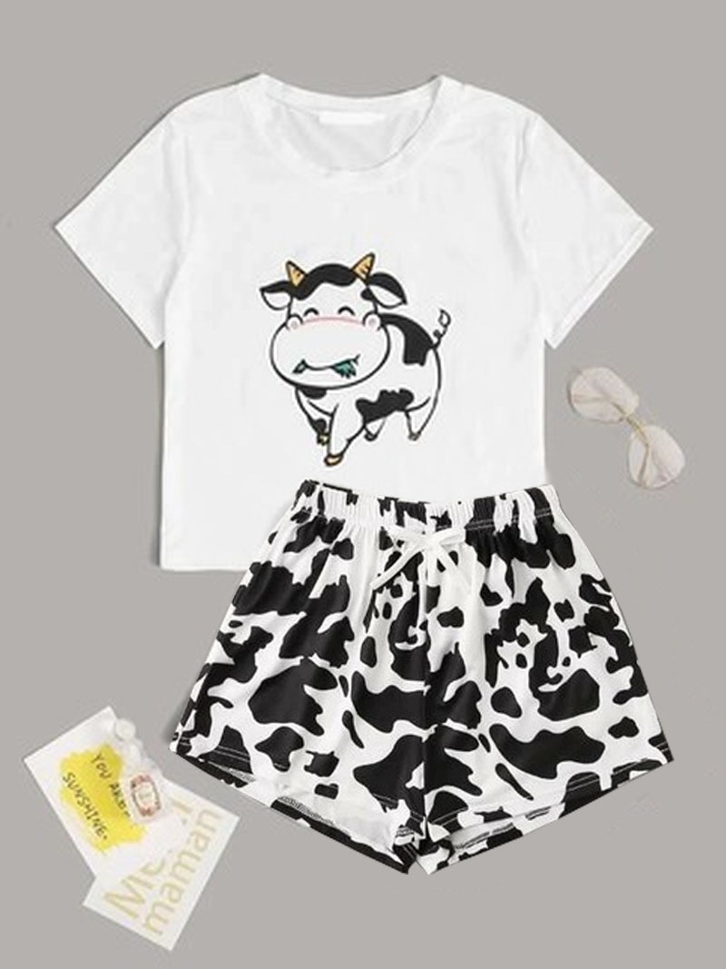 Cow-Print-Pajama-Set-Cotton-Female-Pijamas-Mujer-Summer-Sleepwear-Home-Clothes-Short-Sleeve-T-Shirt