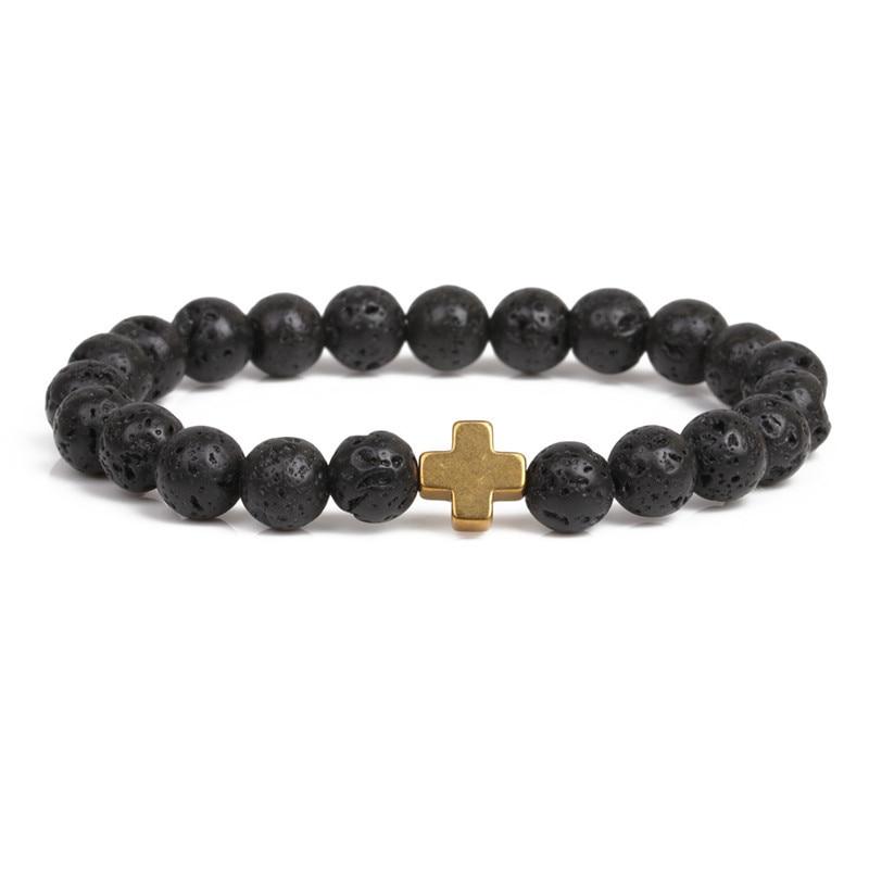 Classic 8mm Natural Volcanic lava stone Beads Bracelet multiple colour metal cross Bracelets for Women&Men fashion Jewelry 2020