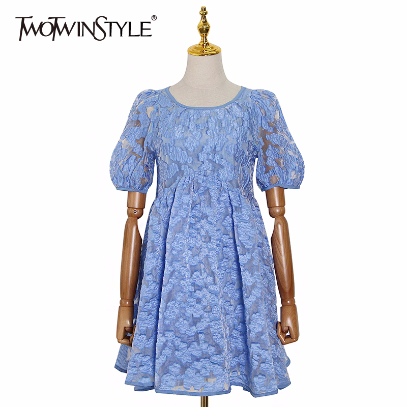 TWOTWINSTYLE Vinatge Women Print Dresses Female O Neck Puff Short Sleeve Loose Patchwork Ruffles Hit Color Dress Women Fashion