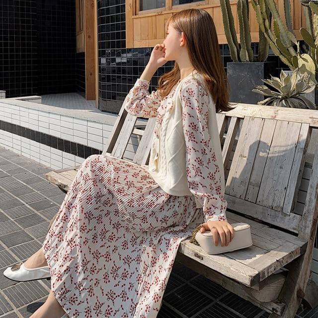 BGTEEVER Fashion Casual Loose Female Midi Dress 2019 Autumn Bow-neck Full Sleeve Elastic Waist Floral Chiffon Women Dress